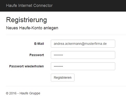 Reisekosten App - Register as a new user