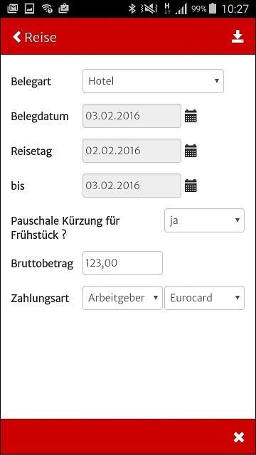 Reisekosten App - Receipt input